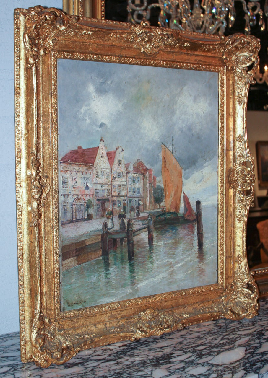 19th Century Continental Oil of Seaside Village In Good Condition For Sale In Dallas, TX