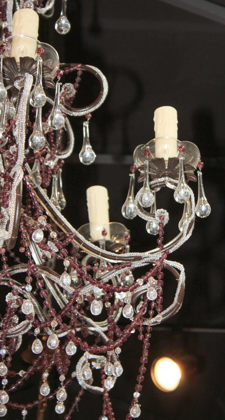 Mid-20th Century Italian Beaded Amethyst Chandelier For Sale