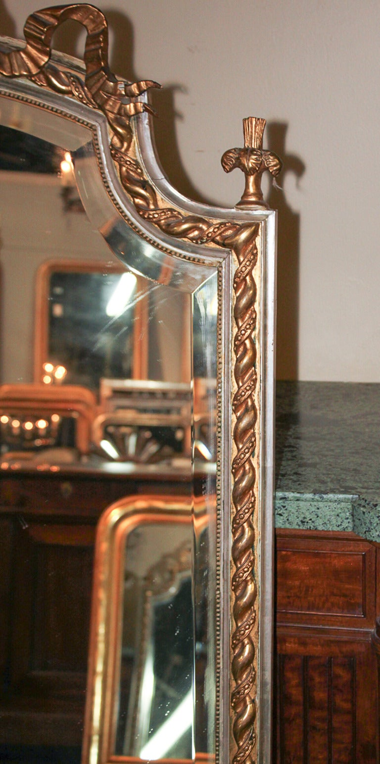 French Louis XV Silver Gilt Mirror For Sale 3