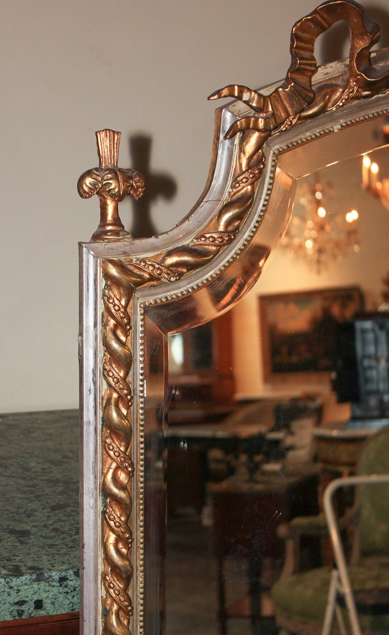 French Louis XV Silver Gilt Mirror In Good Condition For Sale In Dallas, TX