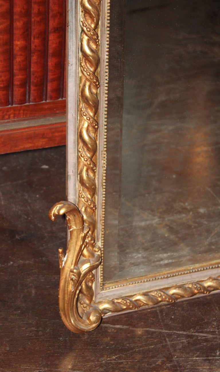 French Louis XV Silver Gilt Mirror For Sale 1