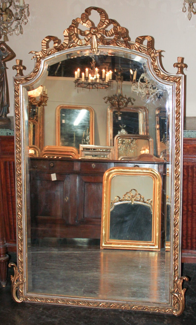 19th Century French Louis XV Silver Gilt Mirror For Sale