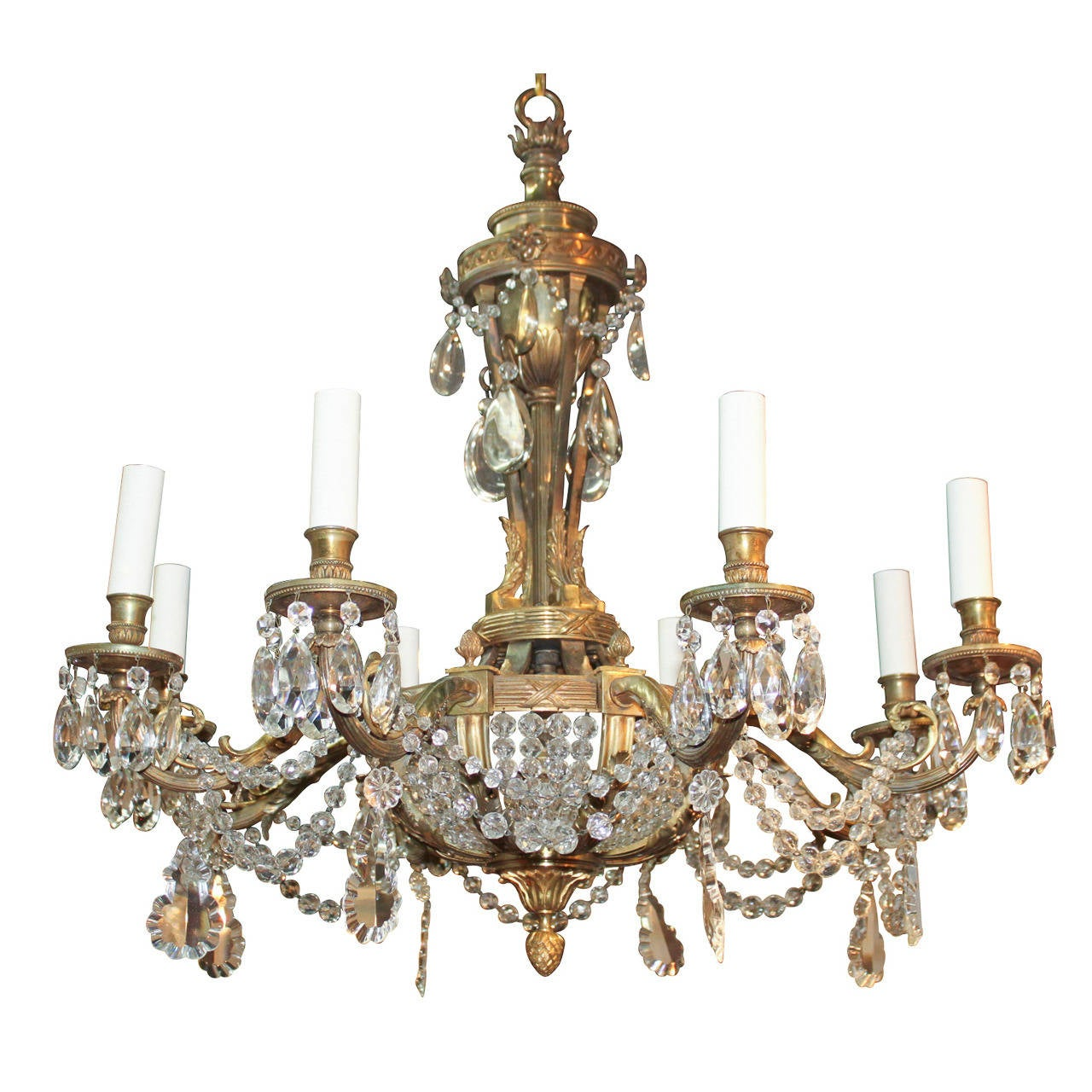 19th c French Bronze and Crystal Chandelier at 1stdibs