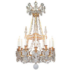 Rare Fine French Bronze and Rock Crystal Chandelier