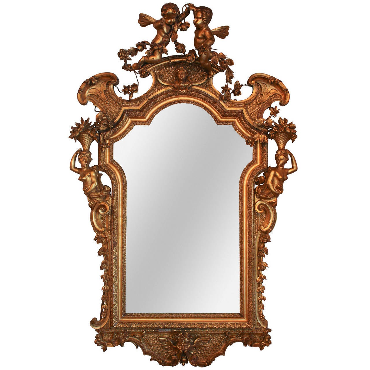 Rare 19th c french rococo giltwood cherub mirror for sale for French mirror