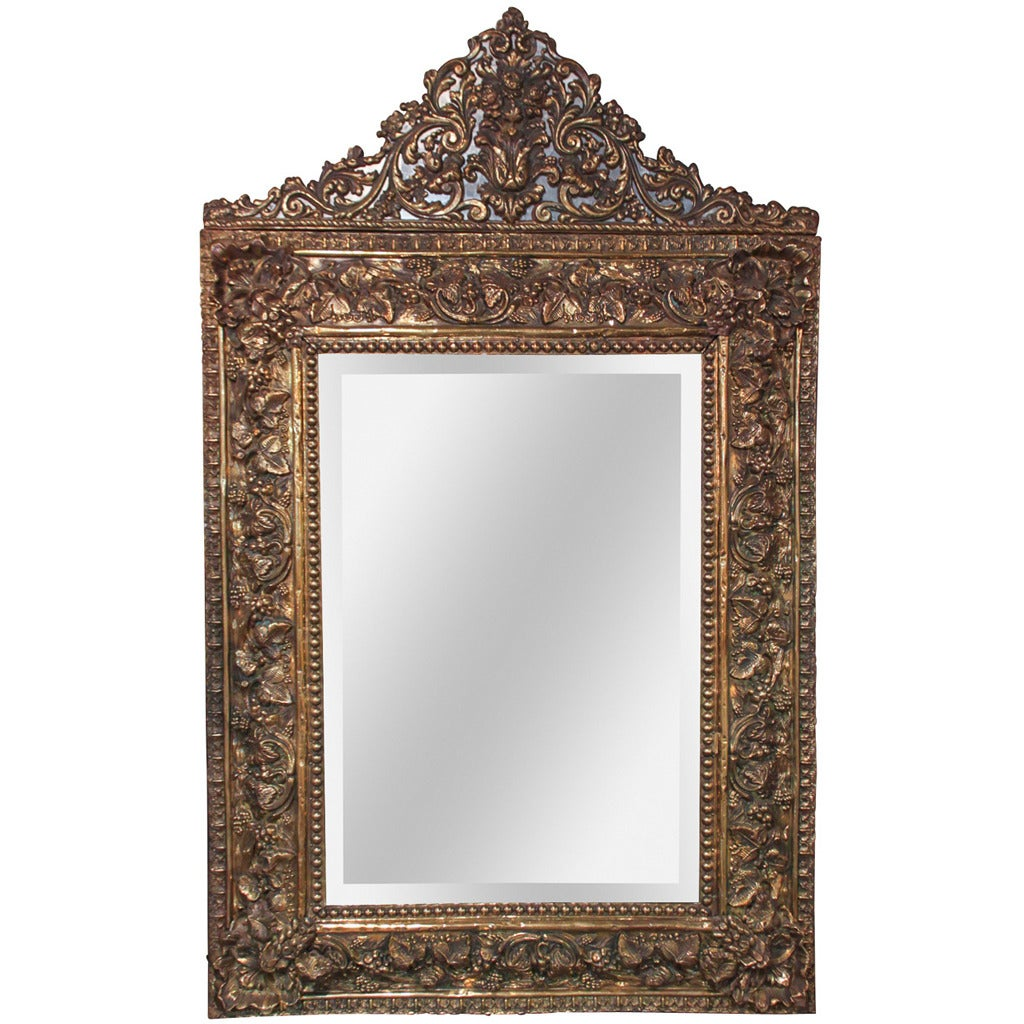 Italian gilt brass repousee mirror for sale at 1stdibs for What is a gilt mirror