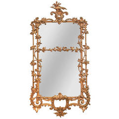 Rare Early 19th Century English Chippendale Gilt Mirror