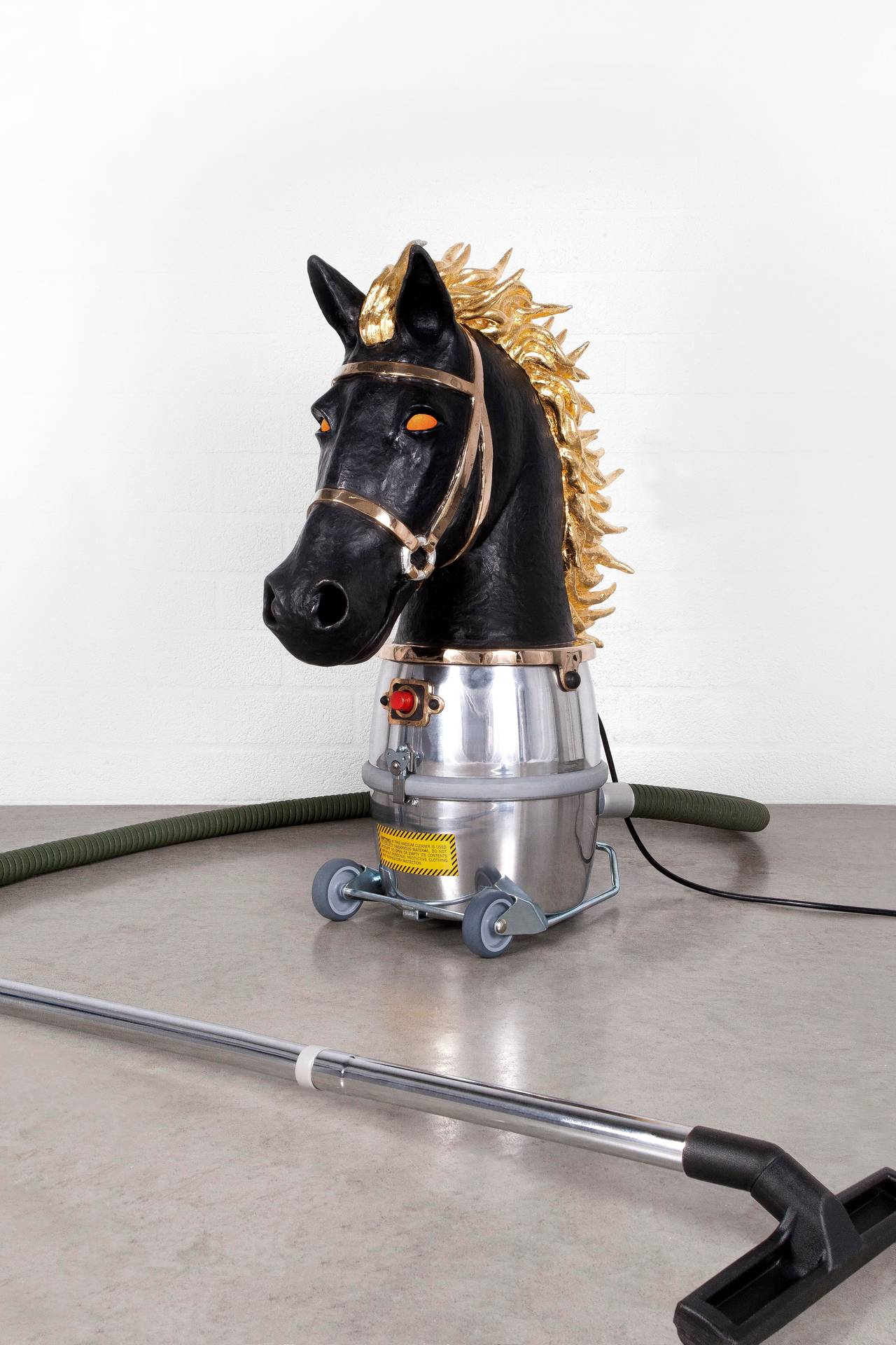 """Studio JobNo. 80 """"Horse Bust 'Chess Piece' 2014"""" in polished bronze, 24-Karat gold gilding, paint, handblown glass LED, Nilfisk GM 80 P. Chess Piece, designed for Jeff Koons, combines references to the artist's work: his blown up sculptures of"""