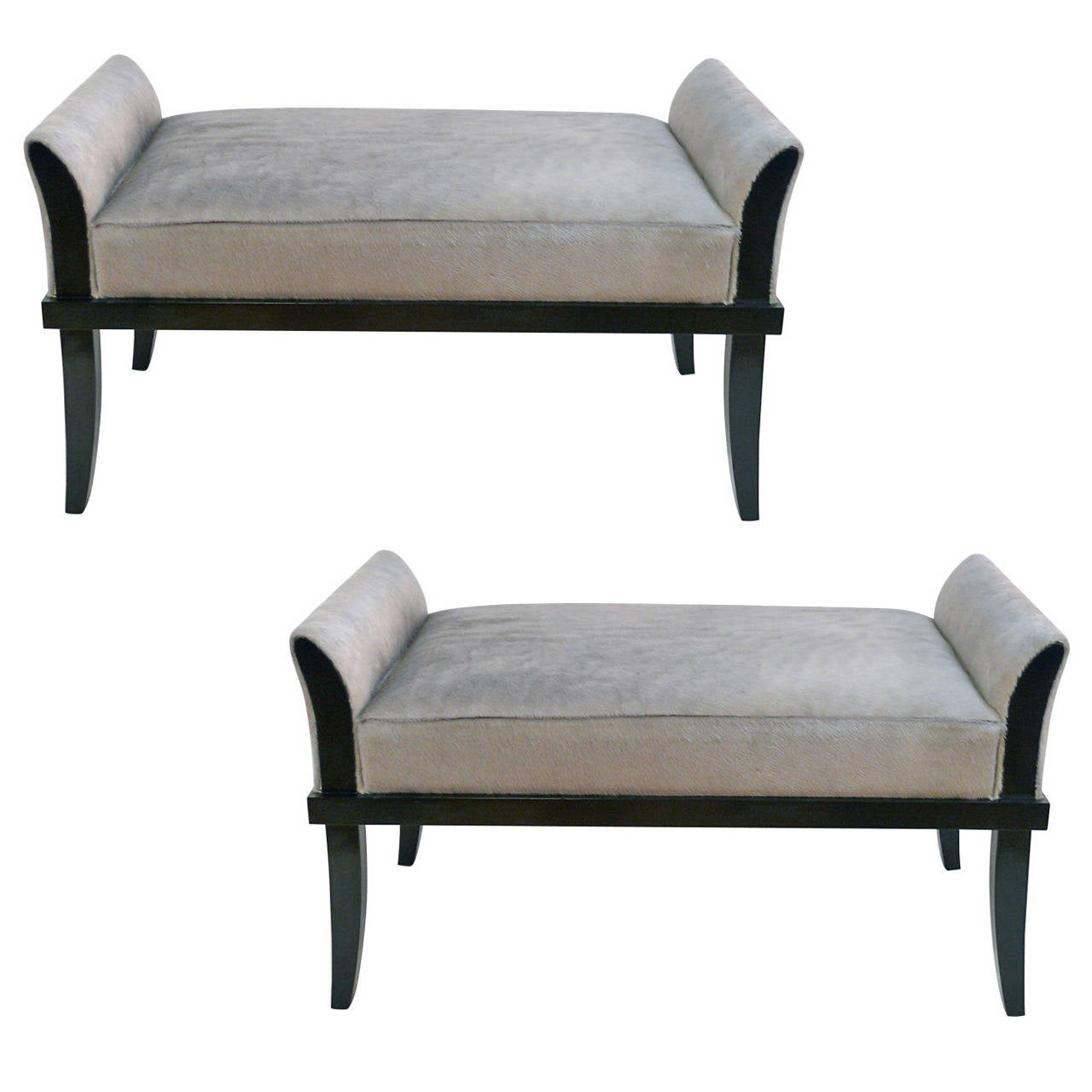 Pair Of Luxe Flared Arm Benches For Sale At 1stdibs