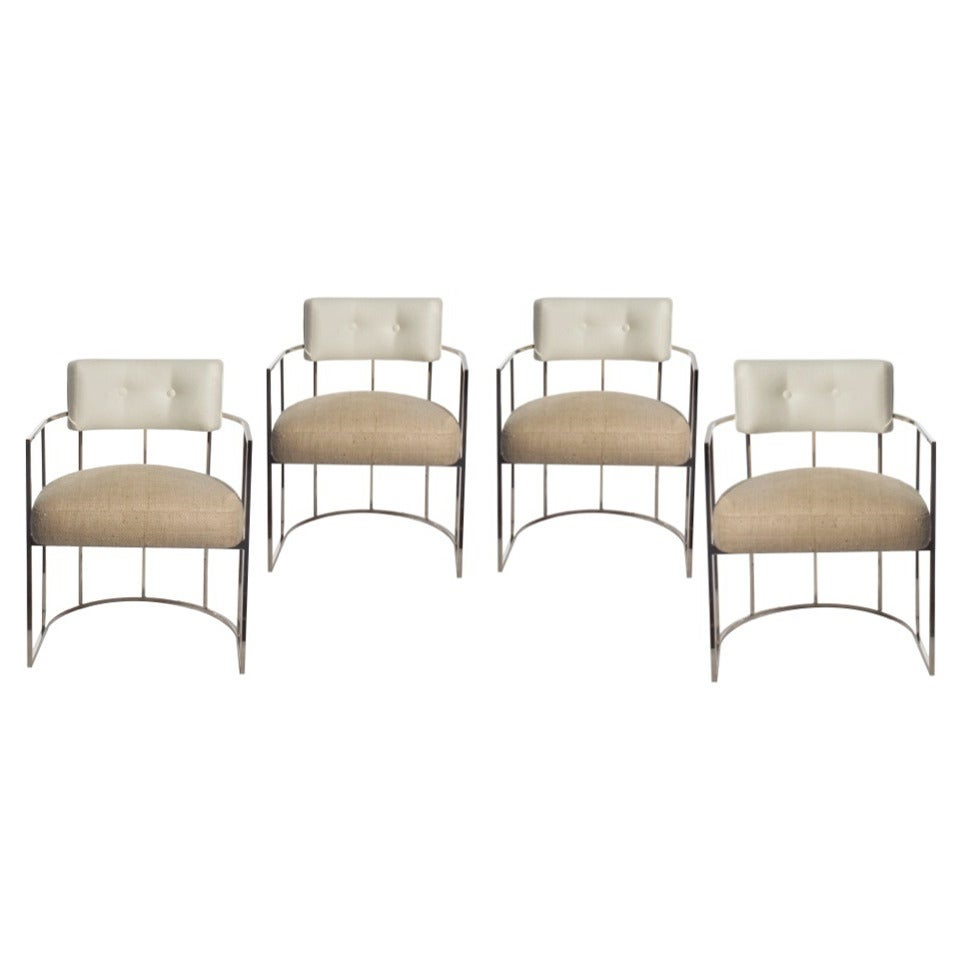 set of four milo baughman barrel back chrome dining chairs