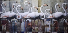 """Sergio Cerchi """"Fenicotteri"""" Unique Piece Oil on Canvas Contemporary Art Painting"""