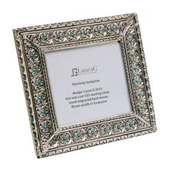 Italian Modern Arts & Crafts Silver Flower Picture Frame, Harmony Turquoise