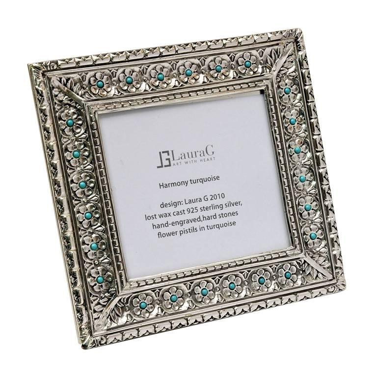 Italian Modern Arts & Crafts Silver Flower Picture Frame, Harmony Turquoise For Sale
