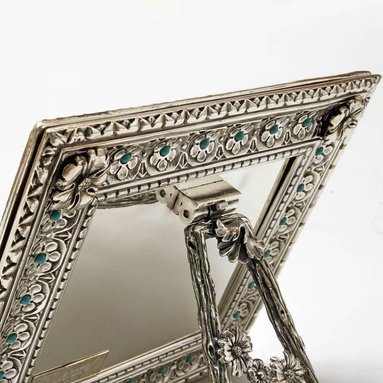 Hand-Crafted Italian Modern Arts & Crafts Silver Flower Picture Frame, Harmony Turquoise For Sale