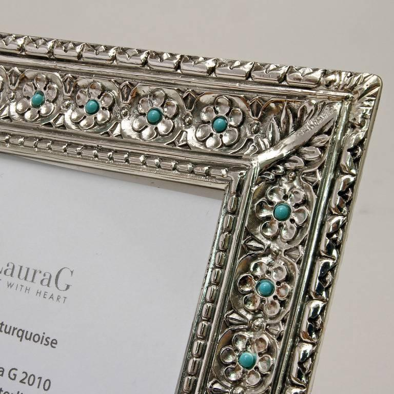 Italian Modern Arts & Crafts Silver Flower Picture Frame, Harmony Turquoise In Good Condition For Sale In Sarezzo, IT