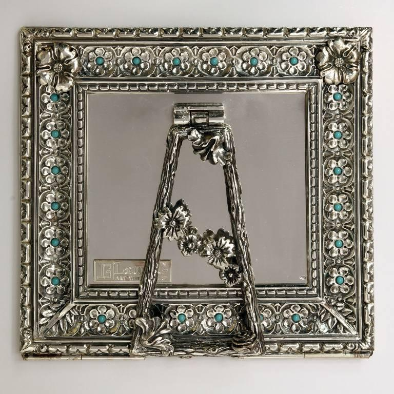 Contemporary Italian Modern Arts & Crafts Silver Flower Picture Frame, Harmony Turquoise For Sale