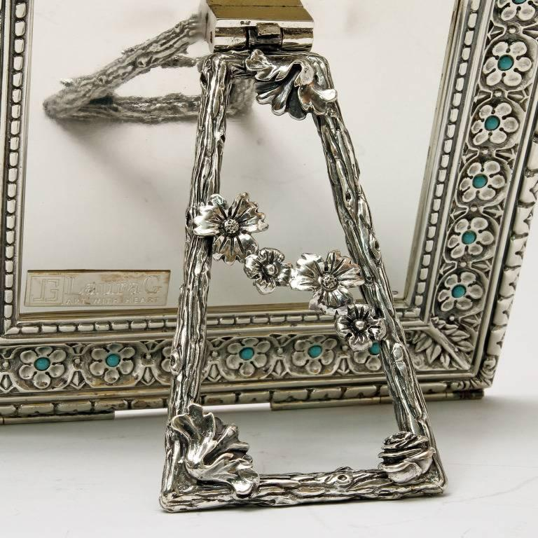 Italian Modern Arts & Crafts Silver Flower Picture Frame, Harmony Turquoise For Sale 1