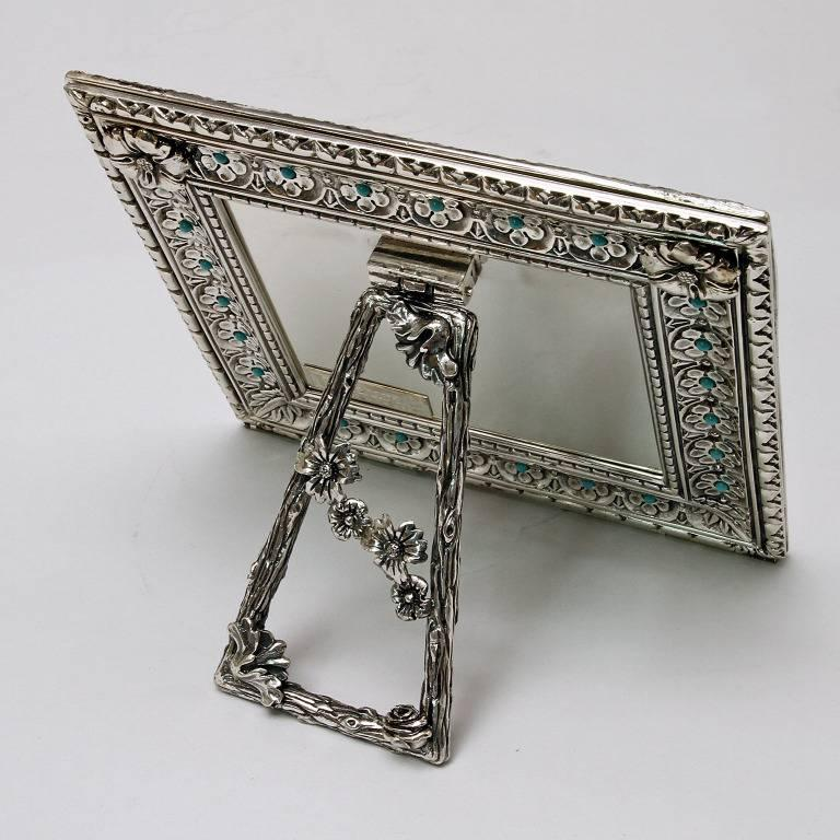 Italian Modern Arts & Crafts Silver Flower Picture Frame, Harmony Turquoise For Sale 2