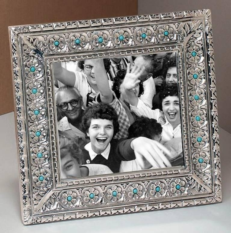 Italian Modern Arts & Crafts Silver Flower Picture Frame, Harmony Turquoise For Sale 4