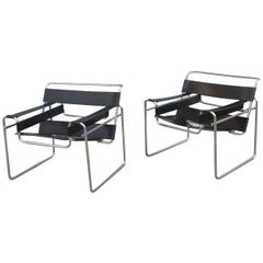 Pair of Marcel Breuer B3 Wassily Chairs Gavina, Italy Black Color Silver, 1970