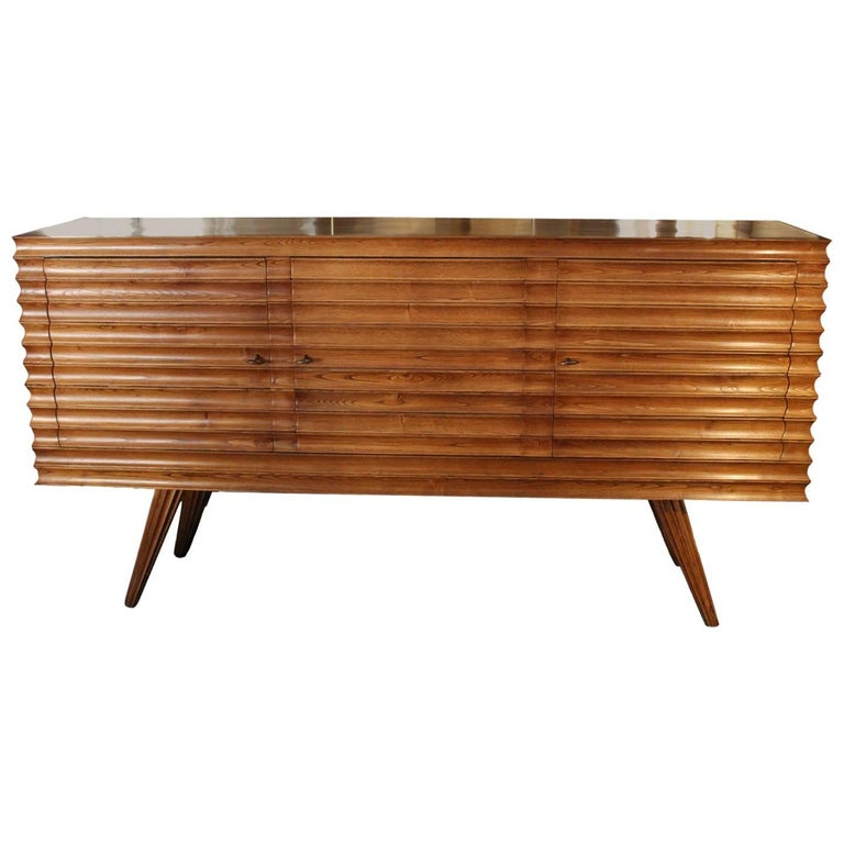 Pair of Midcentury Durmast Wood Italian Sideboards, 1940s