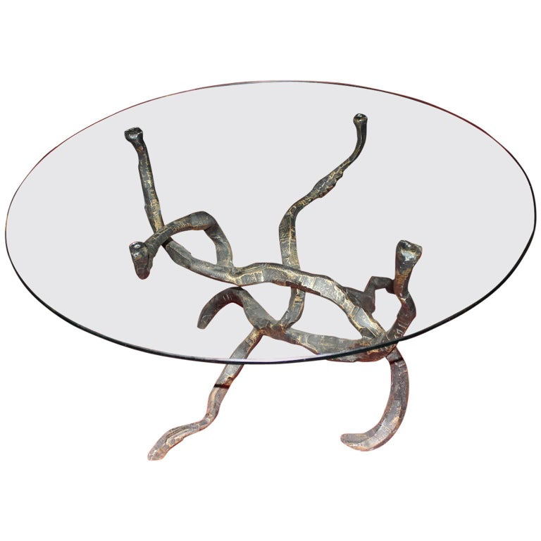 Salvino Marsura Brutalist Forged Iron Round Dining Table with Glass Top, 1970s  For Sale