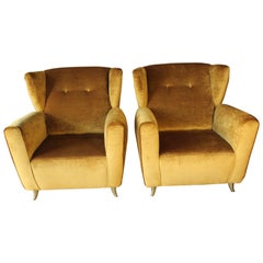 Pair of Contemporary Gold Velvet Armchairs with Brass Fittings, 1960s Style