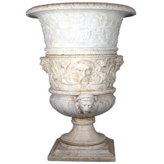 19th Century Carrara Marble Italian Vase, 1830s