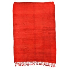 Large Minimalist Red Wool Chichaoua Moroccan Rug