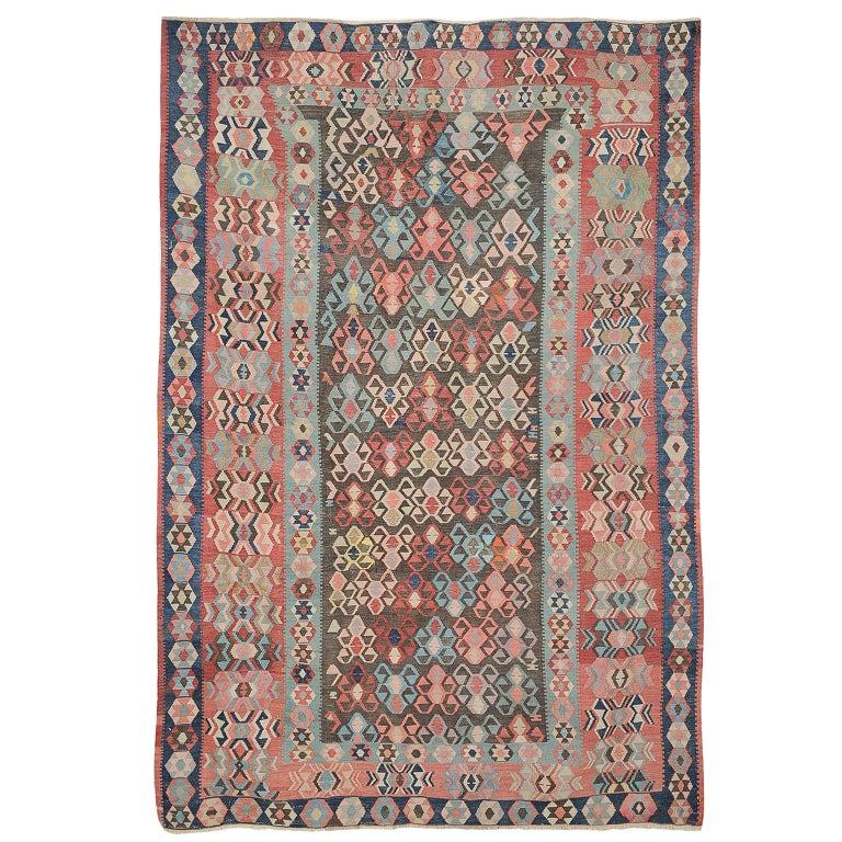 Caucasian Kilim Rug: 19th Century Hand-Knotted Wool Pastel Kilim Kazak