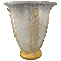Seguso Midcentury Gold and Crystal Murano Glass Vase, 1970