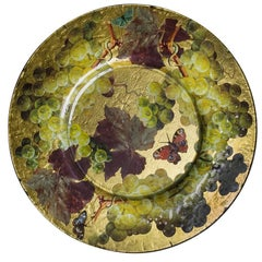 Gold-foiled Glass Large Wall Dish with Grapes Découpage