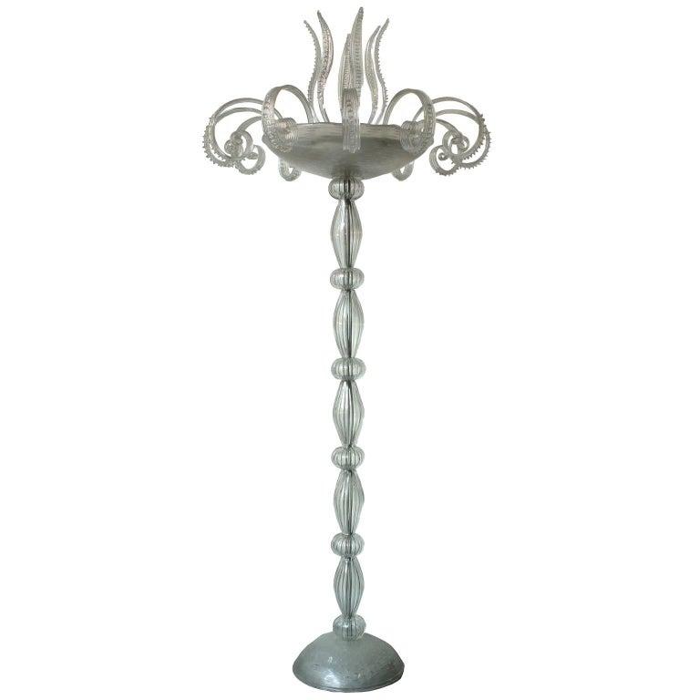 Barovier e Toso Midcentury Blown Murano Glass Italian Floor Lamp, 1940s
