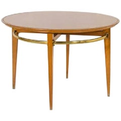 Midcentury Wooden and Brass Italian Dining Table Attibuited to Gio Ponti, 1950s
