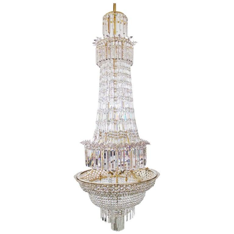 19th Century English Crystal Cut Glass Chandelier