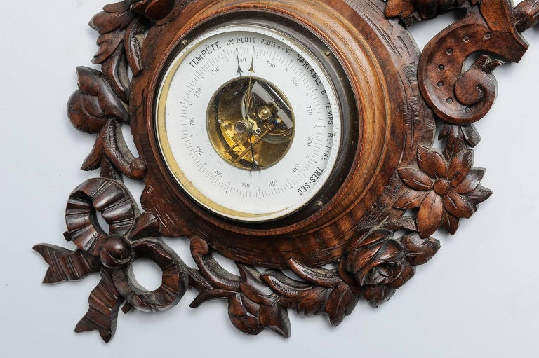 Arts and Crafts  Carved Wood Antique French Barometer  For Sale