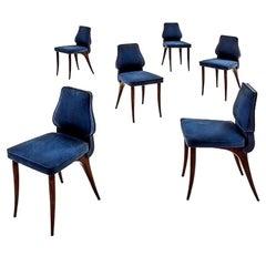 Aldo Morbelli Midcentury Wood Beech and Blue Fabric Italian Chairs, circa 1950