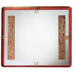 Modernistische Blattgold, roten Metall und Messing Römisches Design Spiegel, 1950er Jahre