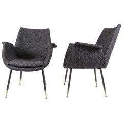 Gastone Rinaldi Midcentury Grey Fabric Italian Armchairs for RIMA, 1956