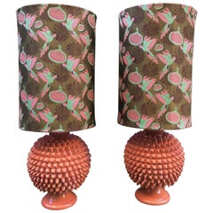 Pair of Vetrified Majolica Lamps Gucci Fabric, Salmon Pink Pine Cone Shape, 1950