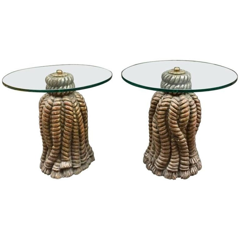 Pair of Italian Golden Carved Wood Tables Round with Crystal Top, 1950s For Sale