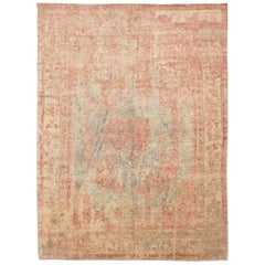 Abstract Rug in Shades of Green and Pink