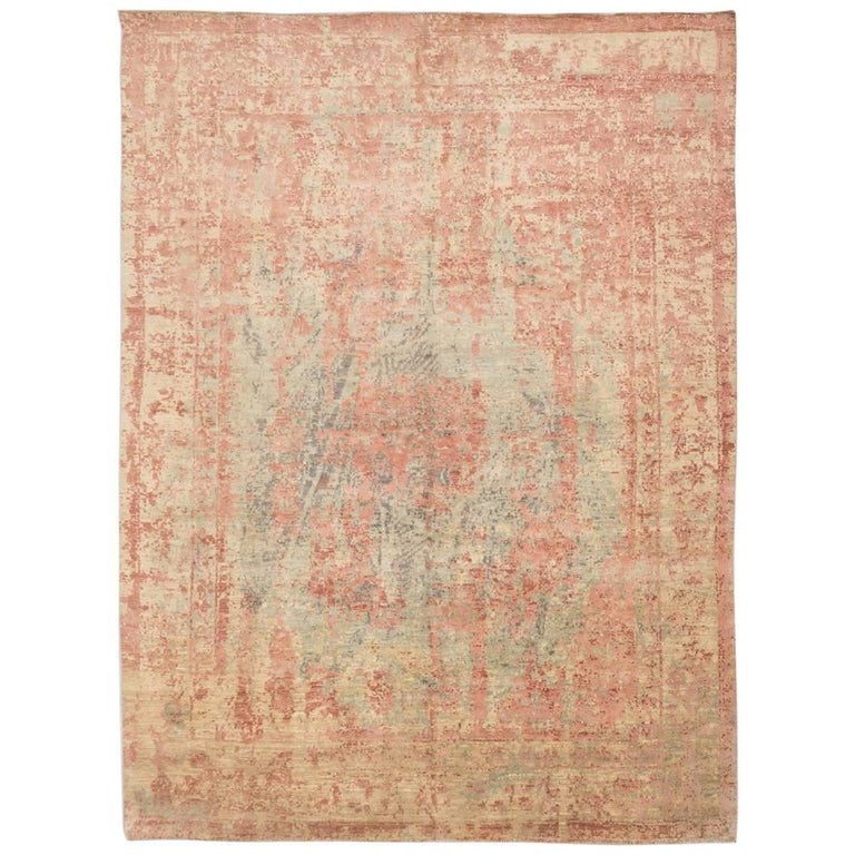 Abstract Rug in Shades of Green and Pink For Sale