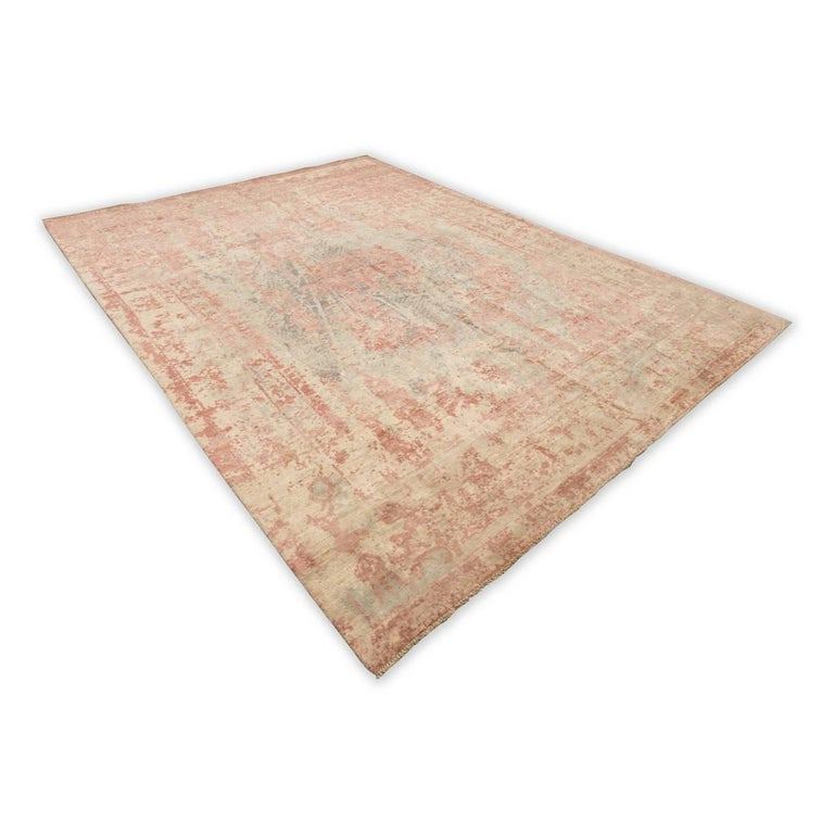 Modern Abstract Rug in Shades of Green and Pink For Sale