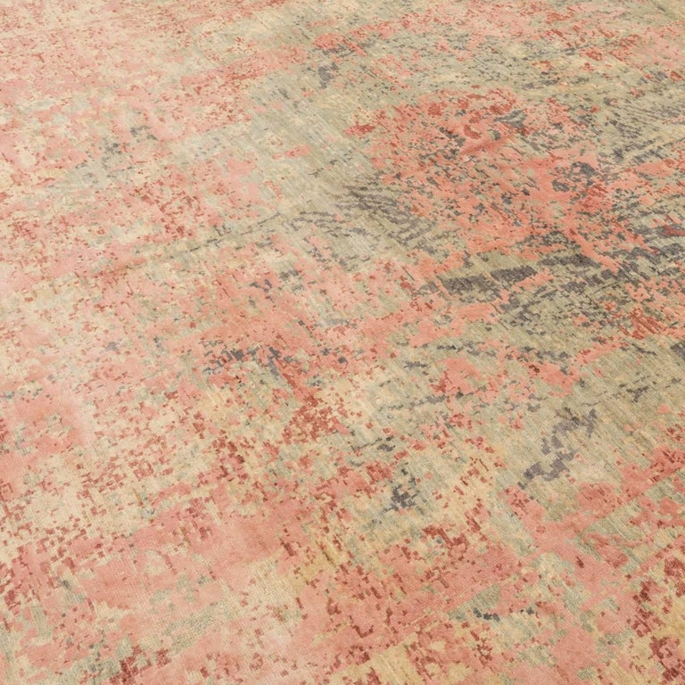 Asian Abstract Rug in Shades of Green and Pink For Sale