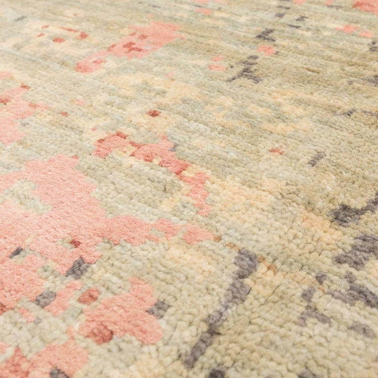 Wool Abstract Rug in Shades of Green and Pink For Sale