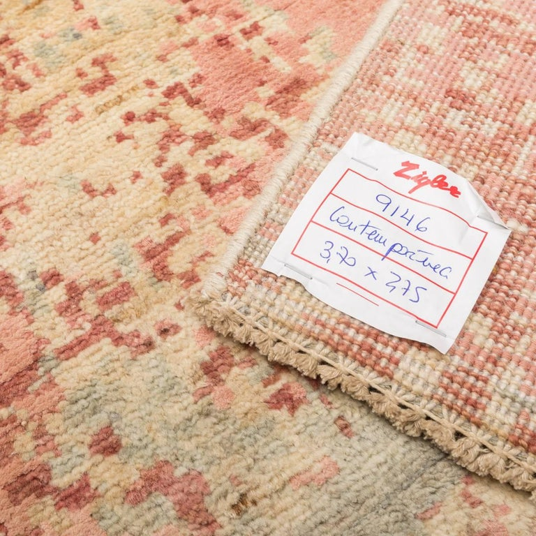 Abstract Rug in Shades of Green and Pink For Sale 1