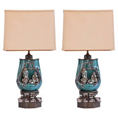 Pair of Marcello Fantoni Chinese Scholars Table Lamps