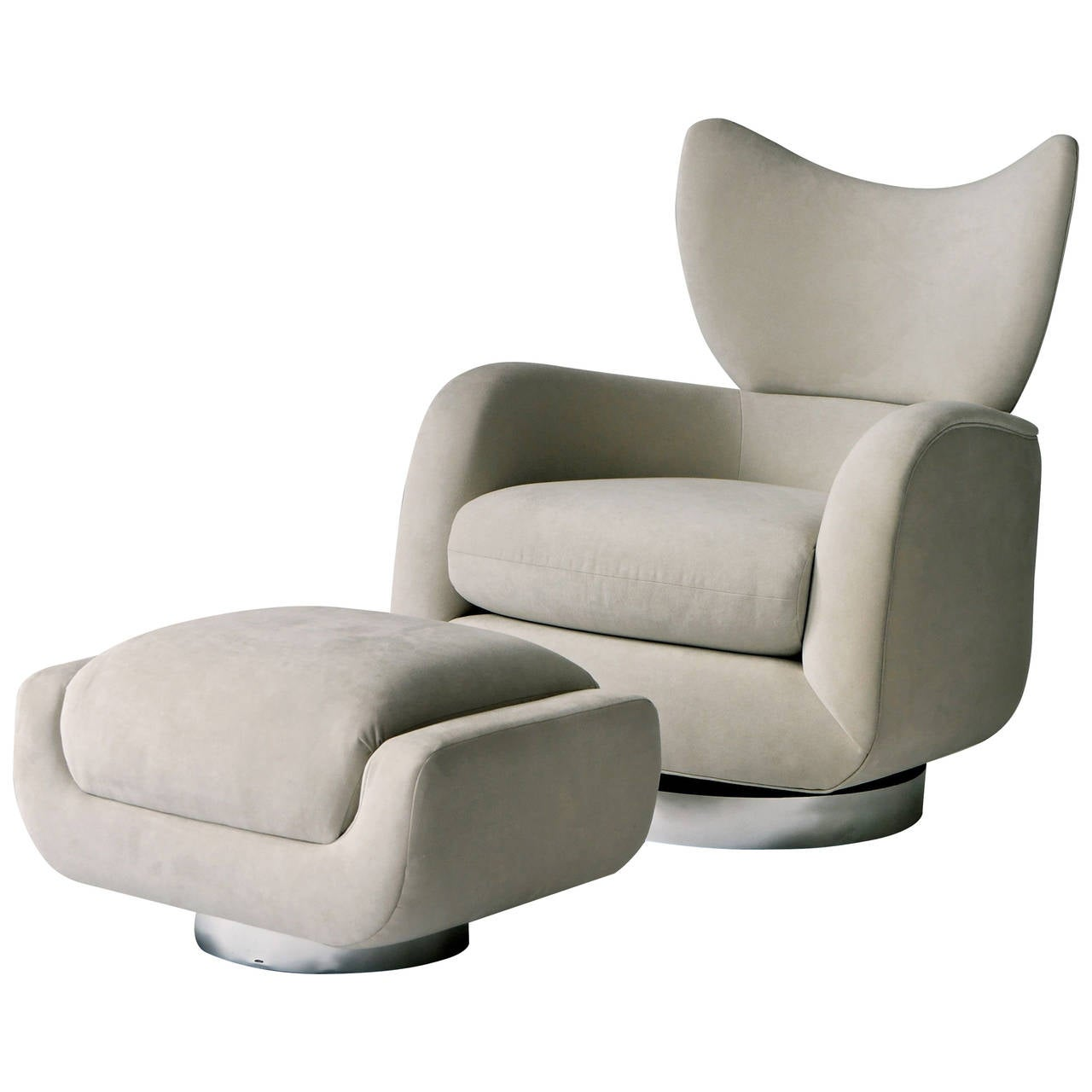 Vladimir Kagan Swivel Lounge Chair and Ottoman For Sale at