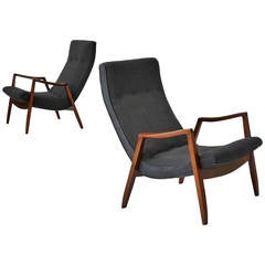 Milo Baughman Pair of Scoop Lounge Chairs